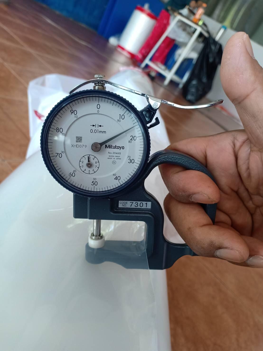 ตัวอย่างรูปประกอบการวัดความหนาของถุงพลาสติกโดย endupak